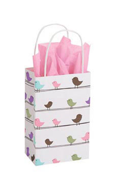 Small Little Birdies Paper Shopping Bags - Case of 25