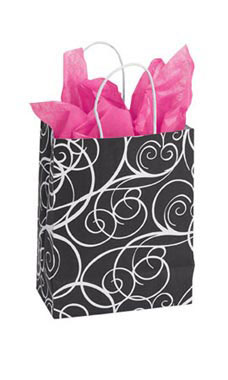 Medium Elegant Swirl Paper Shopping Bags - Case of 25