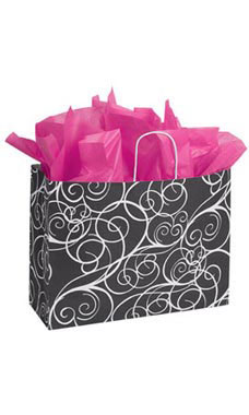 Large Elegant Swirl Paper Shopping Bags - Case of 25
