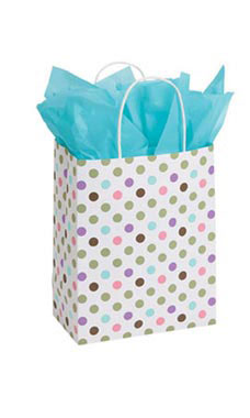 Medium Playful Polkadot Paper Shopping Bags - Case of 25