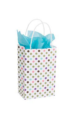 Small Playful Polkadot Paper Shopping Bags - Case of 25