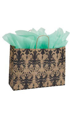 Large Distressed Damask Paper Shopping Bags - Case of 25