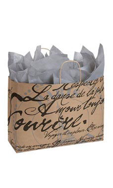 Large Paris Script Paper Shopping Bags - Case of 25
