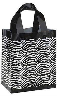 "Zebra Frosted Plastic Shopping Bags- 8""x 5""x 10"" -25 Count"