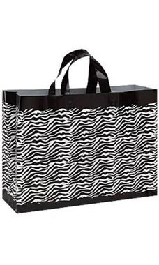 "Zebra Frosted Plastic Shopping Bags- 16""x 6""x 12"" -25 Count"