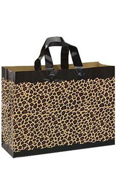 Large Leopard Frosted Shopping Bags - Case of 25