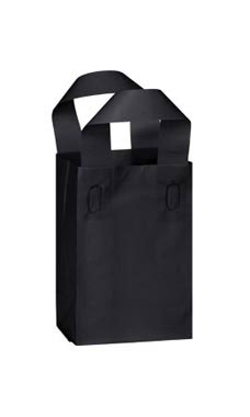 Small Black Frosted Plastic Shopping Bags - Case of 25