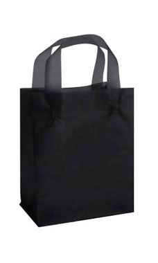 "Black Frosted Plastic Shopping Bags- 8""x 5""x 10"" -25 Count"