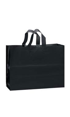 Large Black Frosted Plastic Shopping Bags - Case of 25