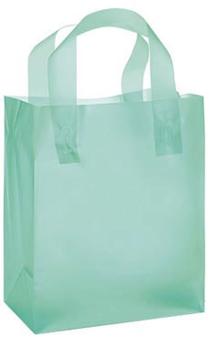 "Aqua Frosted Plastic Shopping Bags- 8""x 5""x 10"" -25 Count"