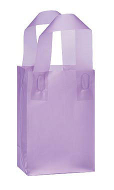 Small Lavender Frosted Plastic Shopping Bags - Case of 25