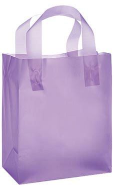 "Lavender Frosted Plastic Shopping Bags- 8""x 5""x 10"" -25 Count"