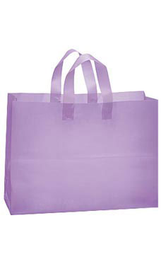 Large Lavender Frosted Plastic Shopping Bags - Case of 25