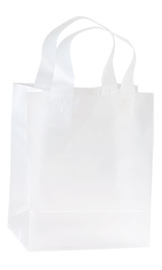 Medium Clear Frosted Plastic Shopping Bags - Case of 25