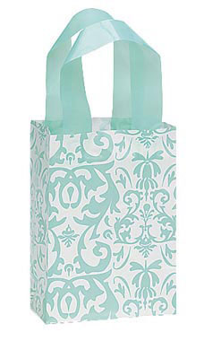 Small Aqua Damask Frosted Plastic Shopping Bags - Case of 25