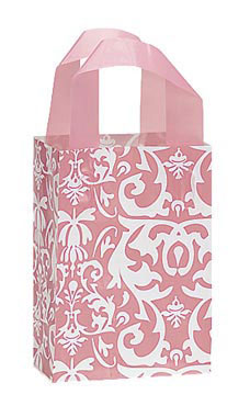 Small Pink Damask Frosted Plastic Shopping Bags - Case of 25