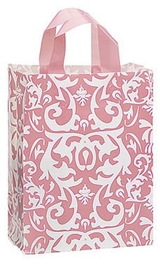 Medium Pink Damask Frosted Plastic Shopping Bags - Case of 25
