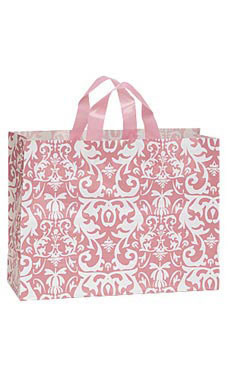 Large Pink Damask Frosted Plastic Shopping Bags - Case of 25