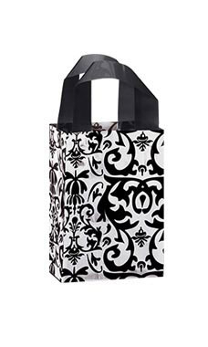 Small Black Damask Frosted Plastic Shopping Bags - Case of 25
