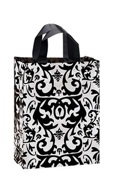 Medium Black Damask Frosted Plastic Shopping Bags - Case of 25