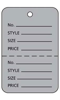 Large Unstrung Gray Perforated Coupon Price Tags