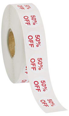 Self-Adhesive 50% Off Discount Labels