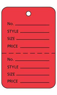 Large Unstrung Red Perforated Coupon Price Tags