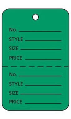 Large Unstrung Green Perforated Coupon Price Tags