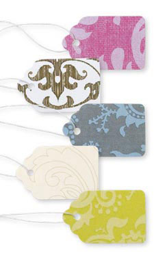 Boutique Strung Colorful Damask Paper Price Tag Assortment