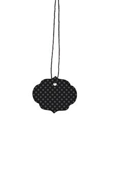 Small Strung Ornate Oval Black Dotted Tags