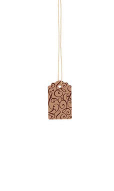 Small Strung Scalloped Cocoa Scripts Tags