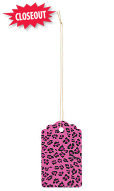 Large Strung Scalloped Pink Leopard Tags