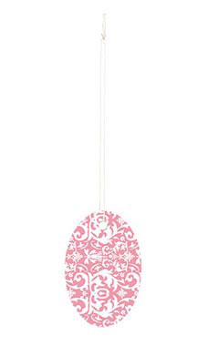 Large Strung Oval Pink Damask Tags
