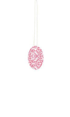 Small Strung Oval Pink Damask Tags