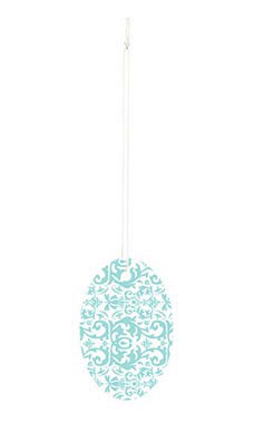 Large Strung Oval Aqua Damask Tags