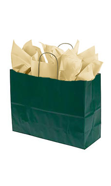 Large Hunter Green Paper Shopping Bags - Case of 100