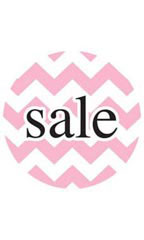 Boutique Circle Pink Chevron Sign Cards