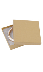 3 ½  x 3 ½  x 1 inch Kraft Cotton Filled Jewelry Boxes