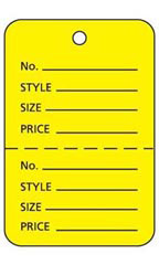 Large Unstrung Yellow Perforated Coupon Price Tags