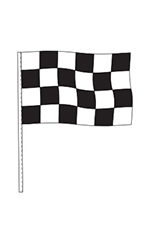 Black/White Checkered Cloth Antenna Pennant