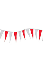 Red/Silver Metallic Triangle Pennant