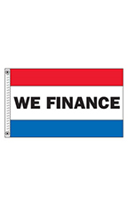 "Horizontal Stripe Message Flag - ""We Finance"""