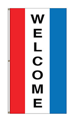 "Small Vertical Stripe Message Flag - ""Welcome"""