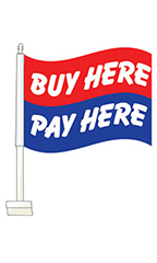 "Window Clip On Flag - ""Buy Here Pay Here"""
