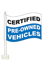 "Window Clip On Flag - ""Certified Pre-Owned"" - Blue"