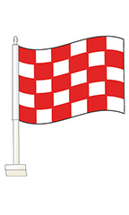Window Clip On Flag - Checkered Red/White