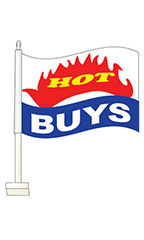"Window Clip On Flag - ""Hot Buys"""