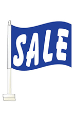 "Window Clip On Flag - ""Sale"" - Blue"