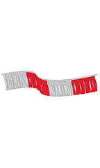 120 foot Red/Silver Metallic Fringe Pennant