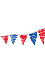 60 foot Red/Silver Patriotic Triangle Pennant